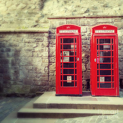 Vintage Phone Boxes Art Print by Jane Rix