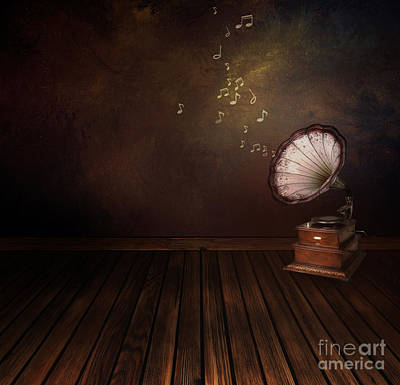 Mythja Digital Art - Vintage Phonograph On Art Abstract Background by Mythja  Photography