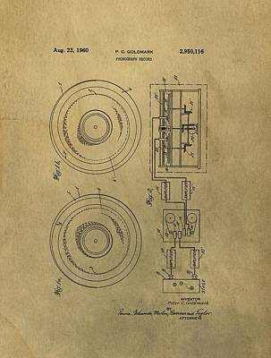 Music Drawings - Vintage Phonograph Patent Illustrattion by Dan Sproul