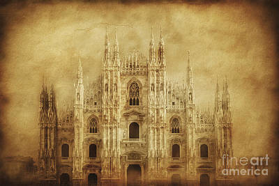 Vintage Photo Of Duomo Di Milano Art Print by Evgeny Kuklev