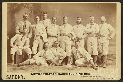 Vintage Photo Of Metropolitan Baseball Nine Team In 1882 Art Print