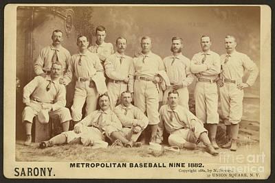 Mixed Media - Vintage Photo Of Metropolitan Baseball Nine Team In 1882 by R Muirhead Art