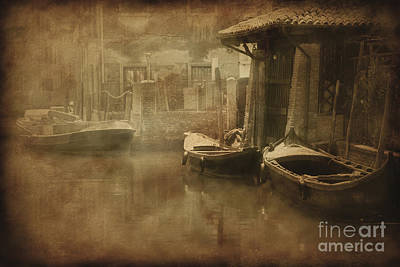 Keith Richards - Vintage Photo Of Venetian Canal by Evgeny Kuklev