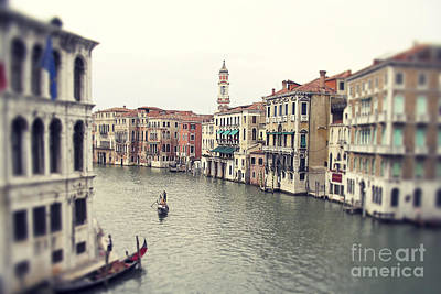Rowing Photograph - Vintage Photo Of Venice Grand Canal by Ivy Ho