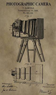 Vintage Camera Mixed Media - Vintage Photographic Camera Patent by Dan Sproul