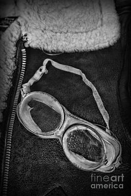 Steam Punk Photograph - Vintage Pilot Gear In Black And White by Paul Ward