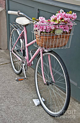 Photograph - Vintage Pink Bicycle With Pink Flowers Art Prints by Valerie Garner