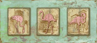 Vintage Pink Flamingo Trio-b Original