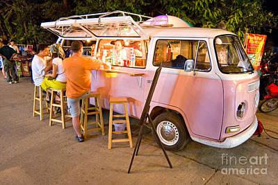 Vintage Pink Volkswagen Bus Art Print