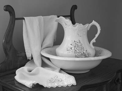 Photograph - Vintage Pitcher And Bowl Black And White by MM Anderson