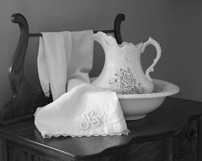 Photograph - Vintage Pitcher With Basin With Monogrammed Towel Black And White by MM Anderson
