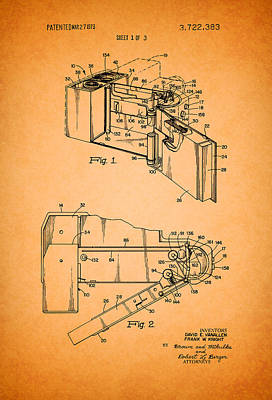 Vintage Camera Drawing - Vintage Polaroid Camera Patent 1973 by Mountain Dreams
