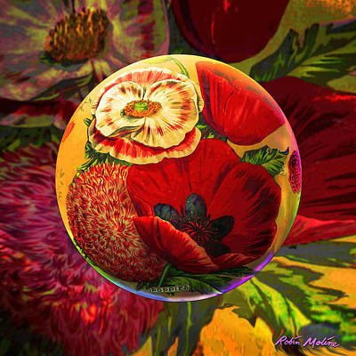 Packages Digital Art - Vintage Poppy Sphere by Robin Moline