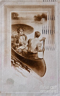 Canoe Digital Art - Vintage Post Card Of Couple In Boat Art Prints by Valerie Garner