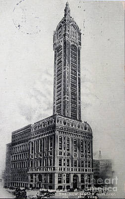 Photograph - Vintage Postcard Of The Singer Building In New York In 1908 by Patricia Hofmeester