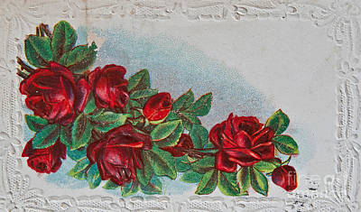 Photograph - Vintage Postcard With Red Roses by Valerie Garner