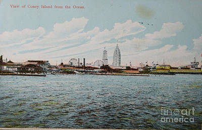 Photograph - Vintage Postcard With View On Coney Island by Patricia Hofmeester