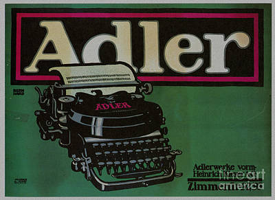 Typewriter Keys Mixed Media - Vintage Poster Adler Typewriters by R Muirhead Art