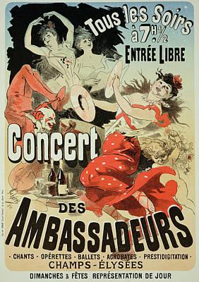 Singer Drawing - Vintage Poster Ambassadors Concert by Jules Cheret
