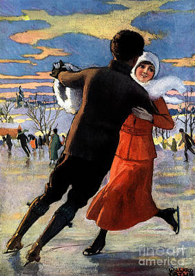 Mixed Media - Vintage Poster Couples Skating At Christmas On Frozen Pond by R Muirhead Art