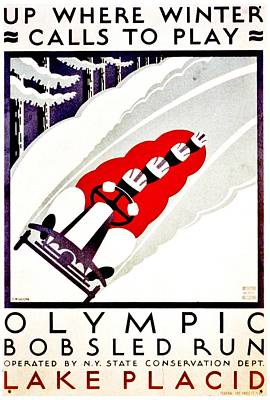 Photograph - Vintage Poster - Lake Placid Bobsled by Benjamin Yeager
