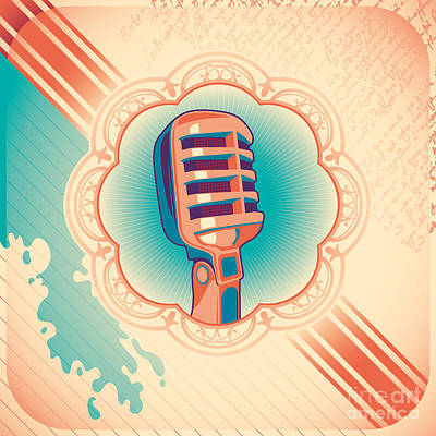 Radio Wall Art - Digital Art - Vintage Poster With Microphone. Vector by Radoman Durkovic