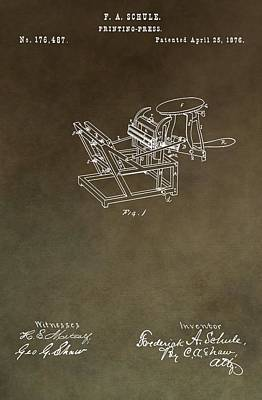 Machinery Mixed Media - Vintage Printing Press Patent by Dan Sproul