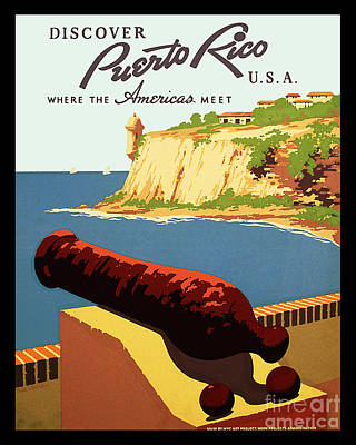 Canon Drawing - Vintage Puerto Rico Travel Poster by Jon Neidert