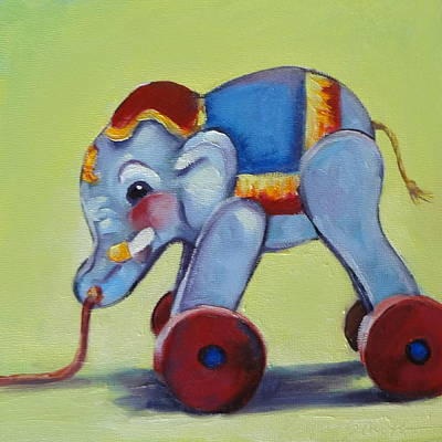 Painting - Vintage Pull Toy Series Elephant by Kelley Smith