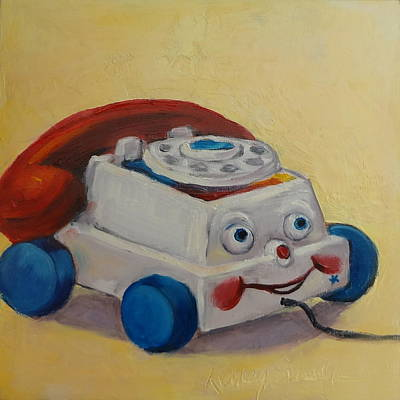 Painting - Vintage Pull Toy Series Phone by Kelley Smith
