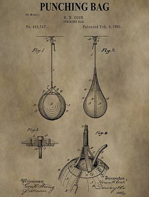 Boxer Digital Art - Vintage Punching Bag Patent by Dan Sproul