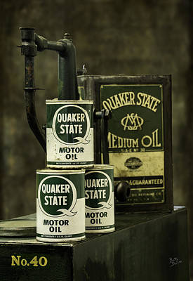 Vintage Quaker State Motor Oil Art Print by Betty Denise