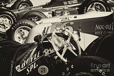 Photograph - Vintage Racecars Monochrome by Dennis Hedberg