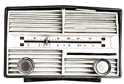 Photograph - Vintage Radio Black White by Edward Fielding
