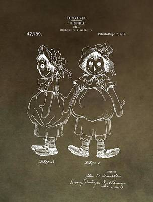 Author Mixed Media - Vintage Raggedy Ann Patent by Dan Sproul