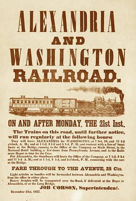 Photograph - Vintage Train Ad 1857 by Andrew Fare