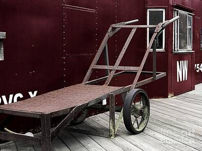 Old Caboose Photograph - Vintage Railroad Baggage Cart by JW Hanley