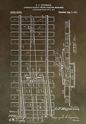 Railroads Mixed Media - Vintage Railway Switch Patent by Dan Sproul