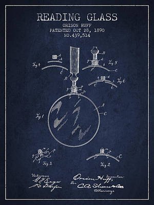 Glass Wall Digital Art - Vintage Reading Glass Patent From 1890 by Aged Pixel