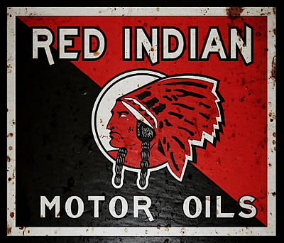Digital Art - Vintage Red Indian Motor Oils Metal Sign by Marvin Blaine