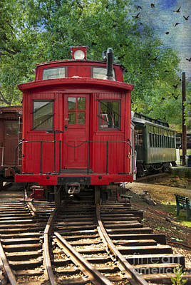 Caboose Photograph - Vintage Red Train by Juli Scalzi