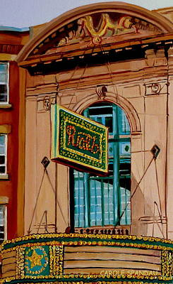 Quebec Art Painting - Vintage Rialto Marquee Theatre-montreal Heritage Building by Carole Spandau