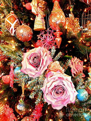 Vintage Rose Holiday Decorations Art Print by Janine Riley