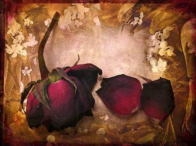 Red Digital Art Photograph - Vintage Rose Petals by Jessica Jenney