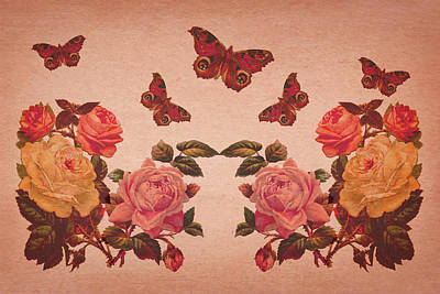 Digital Art - Vintage Roses And Butterflies by Peggy Collins