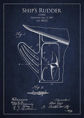 Steering Digital Art - Vintage Rudder Patent Drawing From 1887 by Aged Pixel