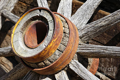 Photograph - Vintage Rustic Wagon Wheel 1 by Lincoln Rogers