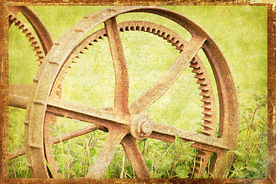 Photograph - Vintage Rusty Wheel by Lesley Rigg