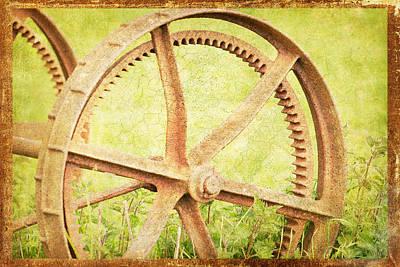 Vintage Rusty Wheel Art Print by Lesley Rigg