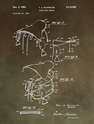 Old Barns Mixed Media - Vintage Saddle Patent Drawing by Dan Sproul
